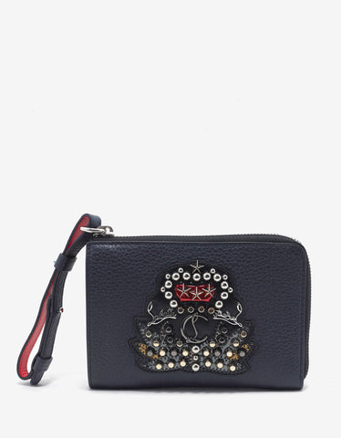 Christian Louboutin Tinos Nuit Blue Grain Leather Wallet with Crest
