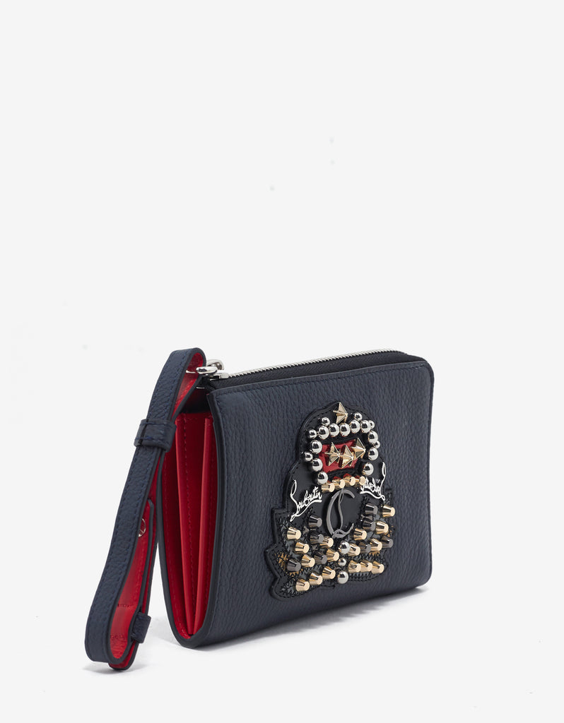 Tinos Nuit Blue Grain Leather Wallet with Crest