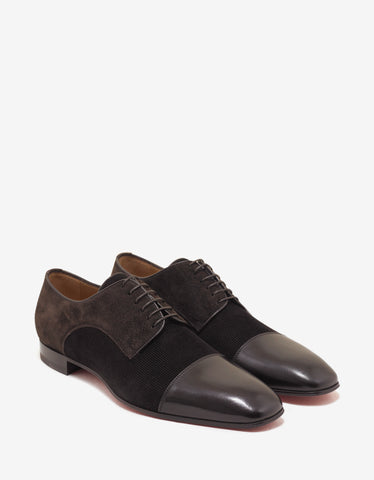 Christian Louboutin Top Daviol Flat Corduroy & Leather Derby Shoes