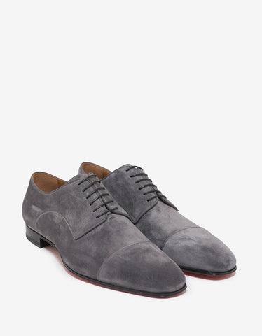Black Leather Derby Shoes with Logo