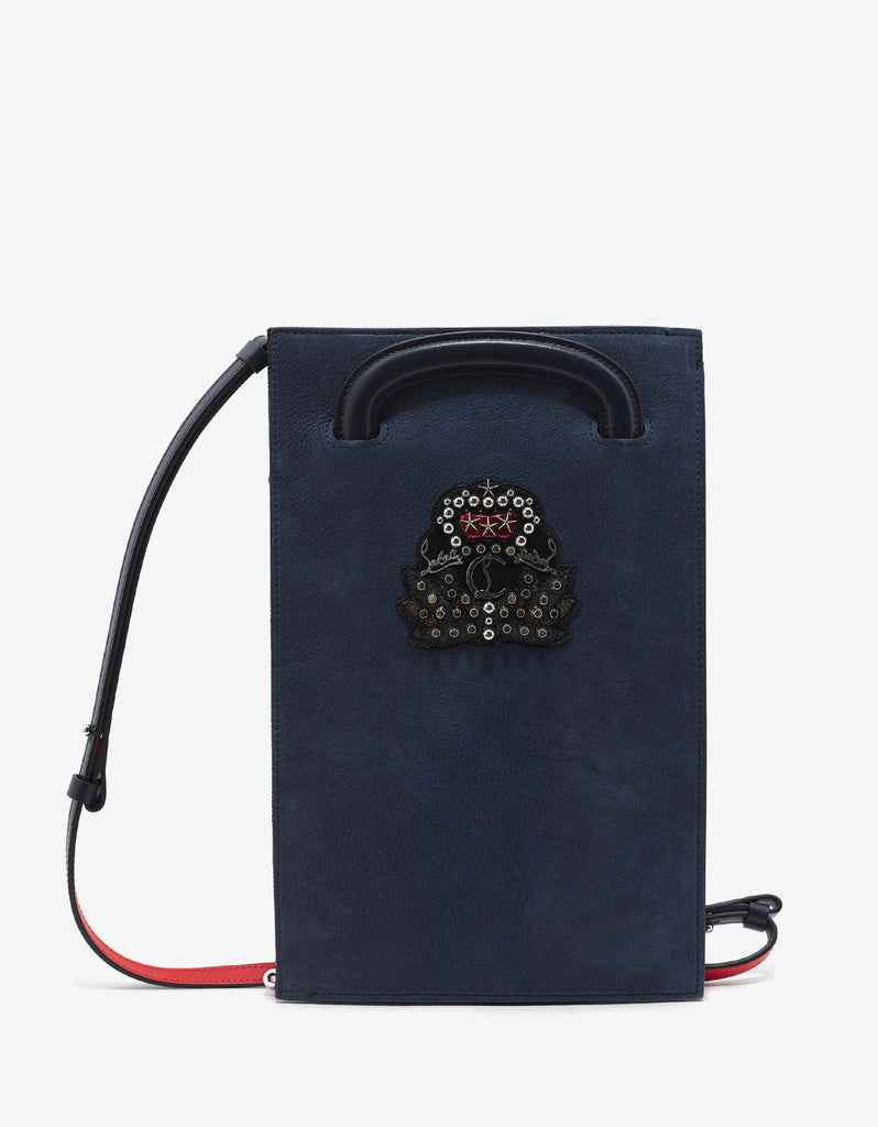 Trictrac Small Nuit Blue Leather Portfolio with Crest