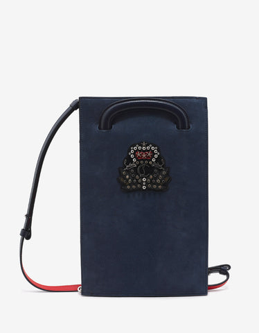 Christian Louboutin Trictrac Small Nuit Blue Leather Portfolio with Crest