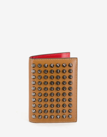 Christian Louboutin Sifnos Caramel Brown Spikes Card Holder