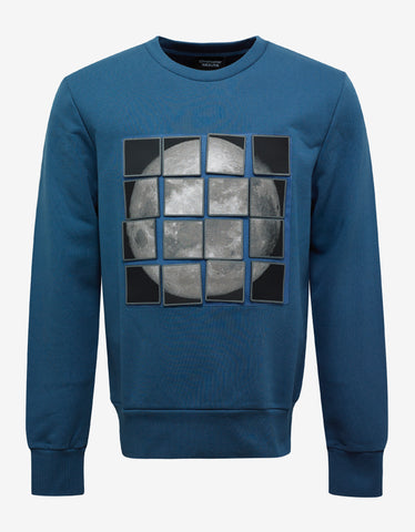Christopher Raeburn Teal Blue Velcro Moon Sweatshirt