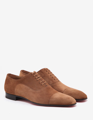 Christian Louboutin Greggo Flat Indiana Tan Suede Leather Oxford Shoes