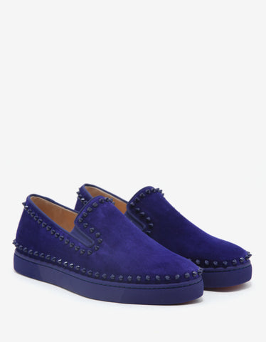 Christian Louboutin Pik Boat Flat Encre Indigo Suede Leather Trainers