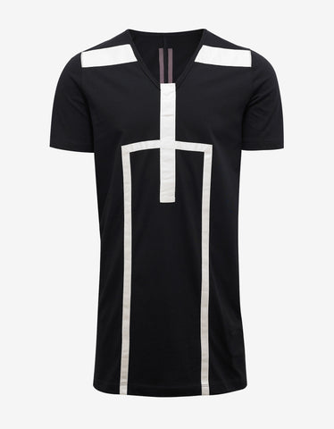 DRKSHDW by Rick Owens Black T-Shirt with Geo Panels
