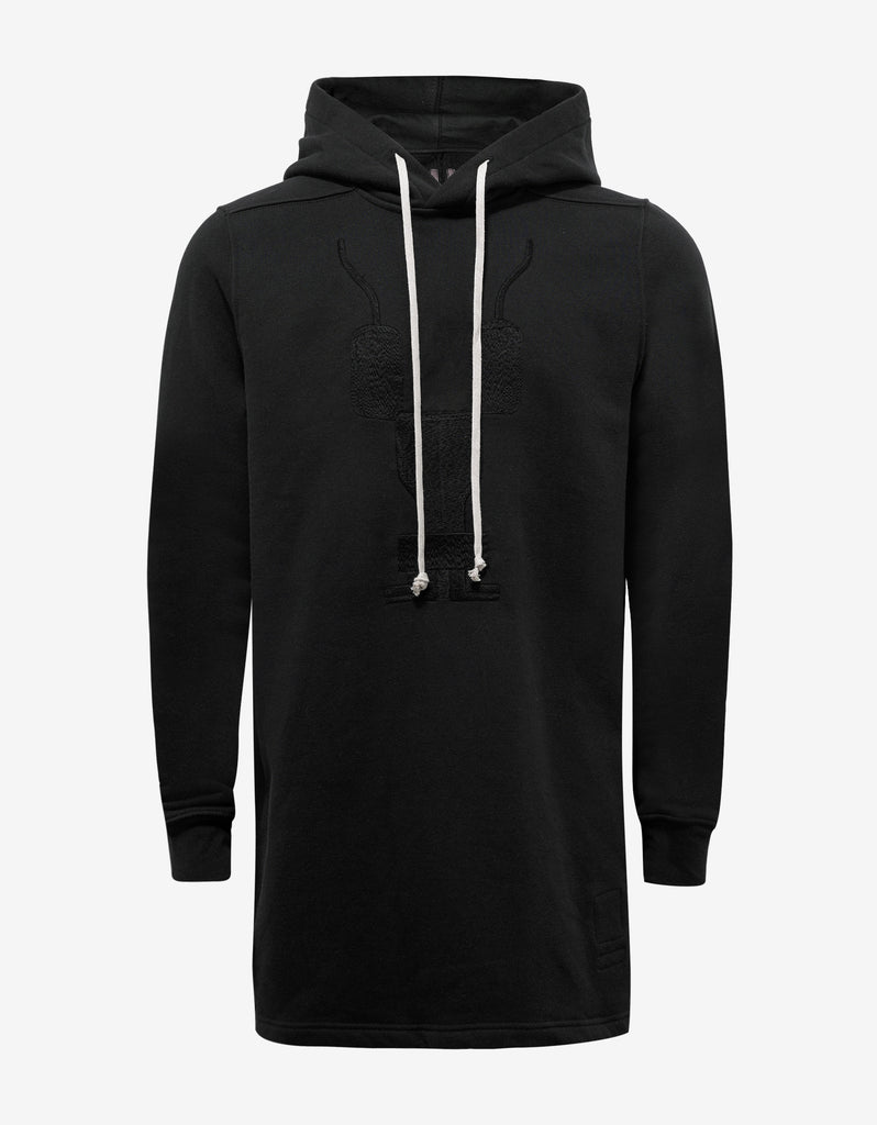 Black Hoodie with Embroidered Graphic