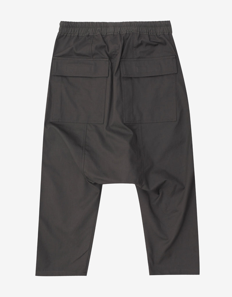 Dark Dust Grey Drawstring Cropped Trousers