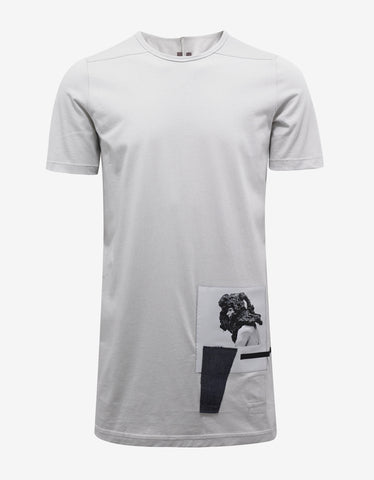 DRKSHDW by Rick Owens Dinge White T-Shirt with Graphic Patches