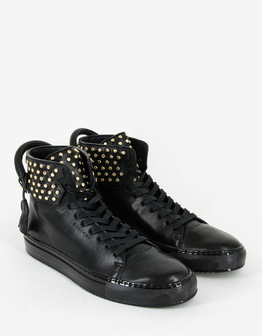 Buscemi Black 125mm High Top Trainers with Screws