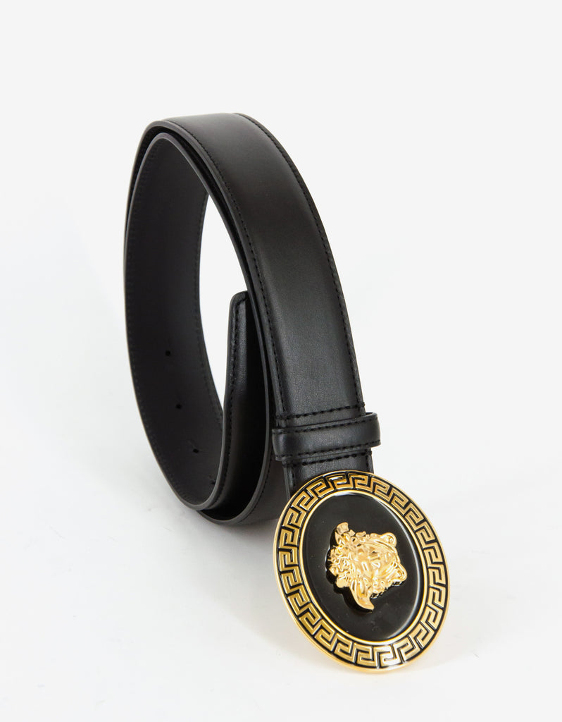 Black Leather Medusa Plaque Belt