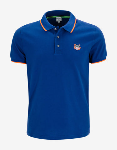 Kenzo Blue K Fit Tiger Head Polo T-Shirt
