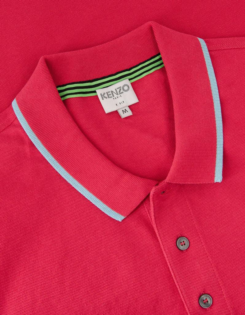 Cherry Pink K Fit Tiger Head Polo T-Shirt