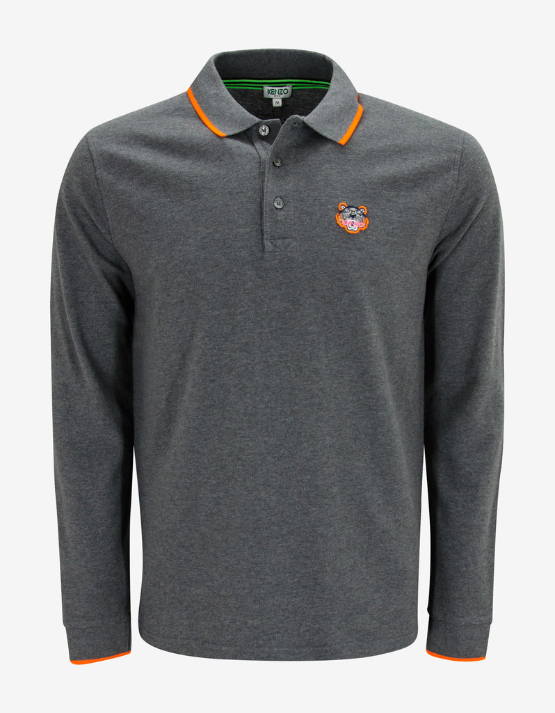 Grey Tiger Head Long Sleeve Polo T-Shirt