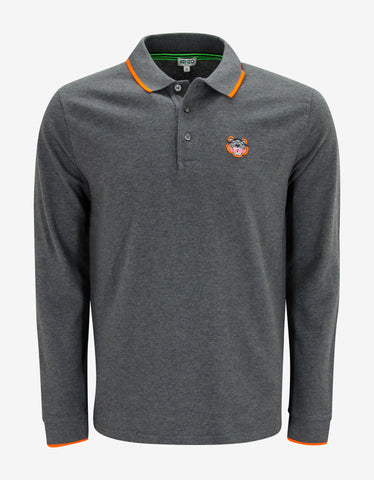 Kenzo Grey Tiger Head Long Sleeve Polo T-Shirt