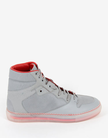 Balenciaga Grey Reptile Embossed Leather High Top Trainers