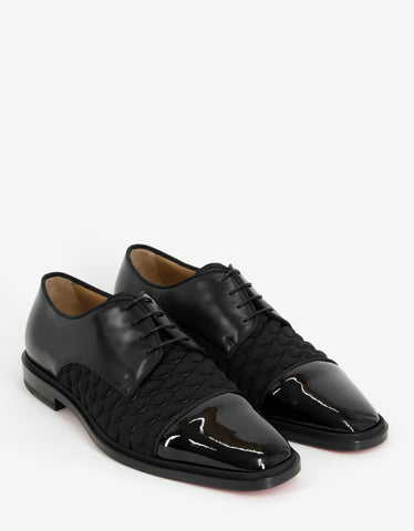 Christian Louboutin Bruno Orlato Flat Leather & Neoprene Derby Shoes