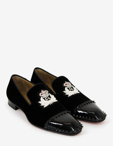 Christian Louboutin Captain Loubi Flat Velvet Spikes Loafers