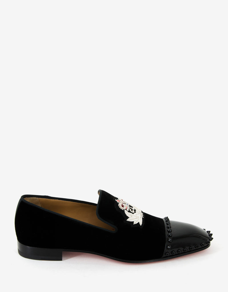 Captain Loubi Flat Velvet Spikes Loafers