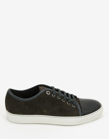 Lanvin Taupe Suede Trainers with Patent Toe Cap