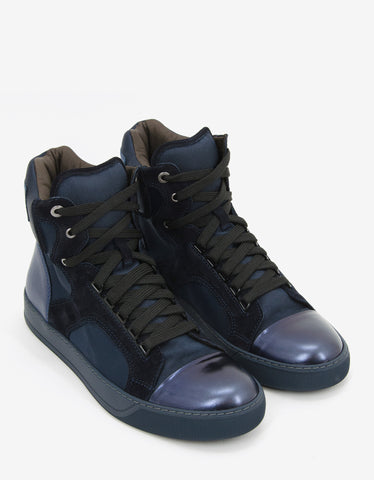 Lanvin Blue Panelled High Top Trainers