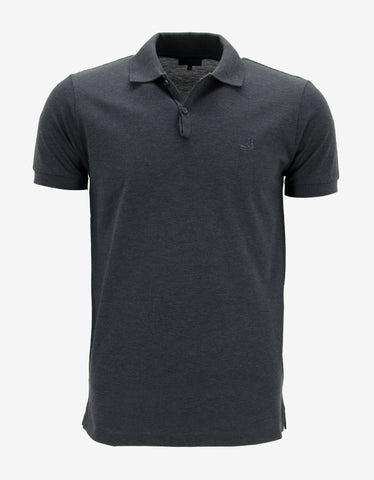 Lanvin Dark Grey Polo T-Shirt with Trainer Emblem