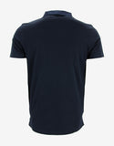 Navy Blue Polo T-Shirt with Grosgrain Collar