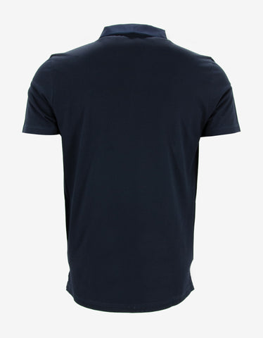 Lanvin Navy Blue Polo T-Shirt with Grosgrain Collar