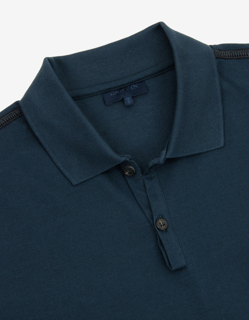 Blue Polo T-Shirt with Trainer Emblem