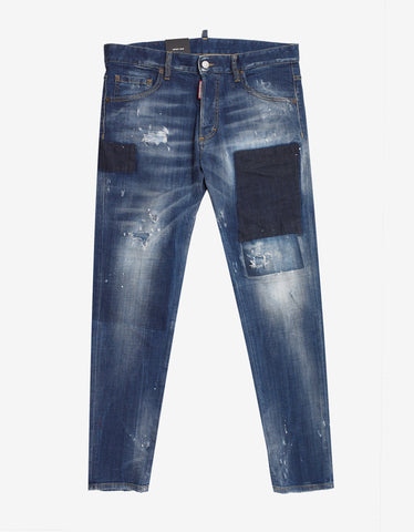 Dsquared2 Blue Distressed Paint Splatter Skinny Jeans