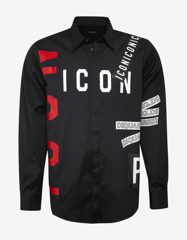 Dsquared2 Black All-Over Icon Print Shirt