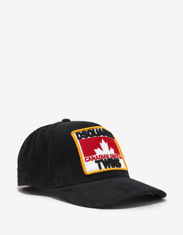 Dsquared2 Black Dsquared2 Twins Corduroy Baseball Cap