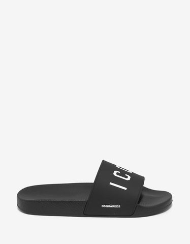 Dsquared2 Black Icon Logo Slide Sandals
