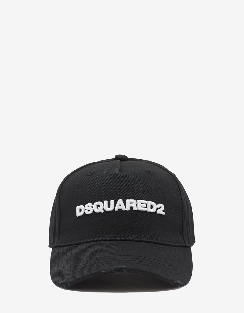 Black Baseball Cap with White Dsquared2 Logo