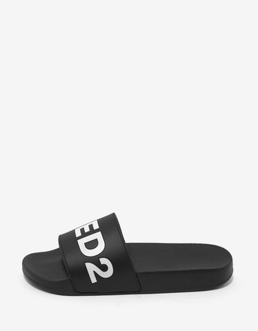Dsquared2 Black Logo Slide Sandals