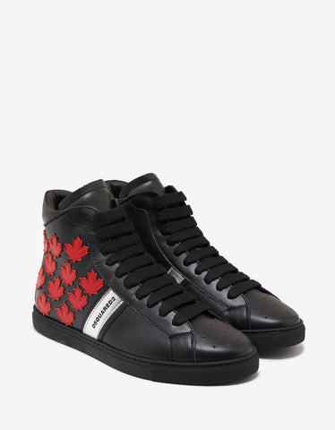 Dsquared2 Black Maple Leaf High Top Trainers