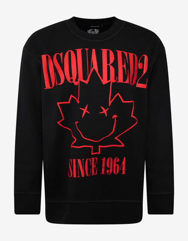 Dsquared2 Black Maple Leaf Print Sweatshirt