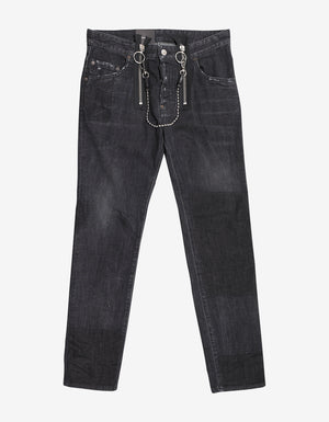 Black Skater Jeans with Chain Attachment