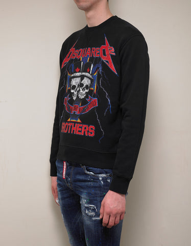 Dsquared2 Black Skull Print Sweatshirt