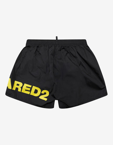 Dsquared2 Black Swim Shorts with Yellow Logo