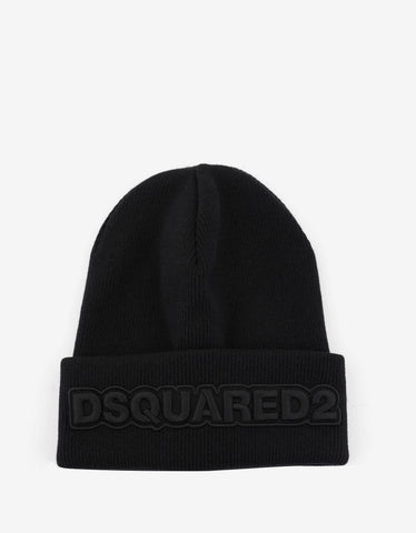 Dsquared2 Black Tonal Logo Beanie Hat