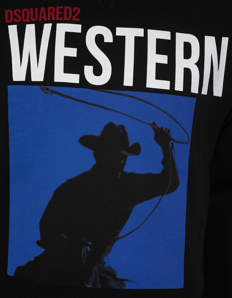 Black Western Graphic Print Sweatshirt