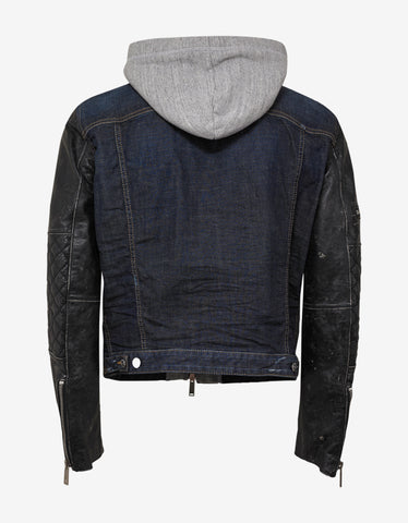 Dsquared2 Blue Denim Jacket with Leather Sleeves