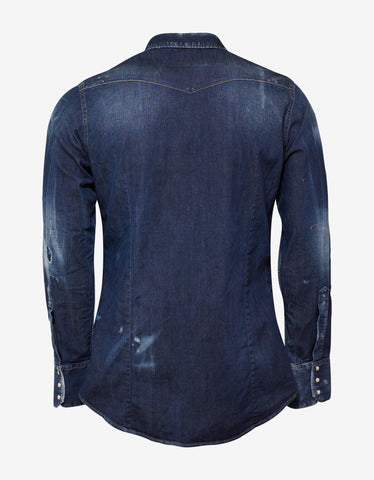 Dsquared2 Blue Distressed Denim Shirt with Badges