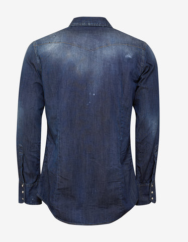Dsquared2 Blue Distressed Denim Shirt with Patches