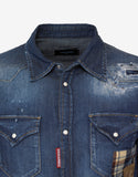 Blue Distressed Denim Shirt with Patches