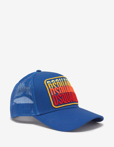 Dsquared2 Blue Multi-Logo Trucker Hat