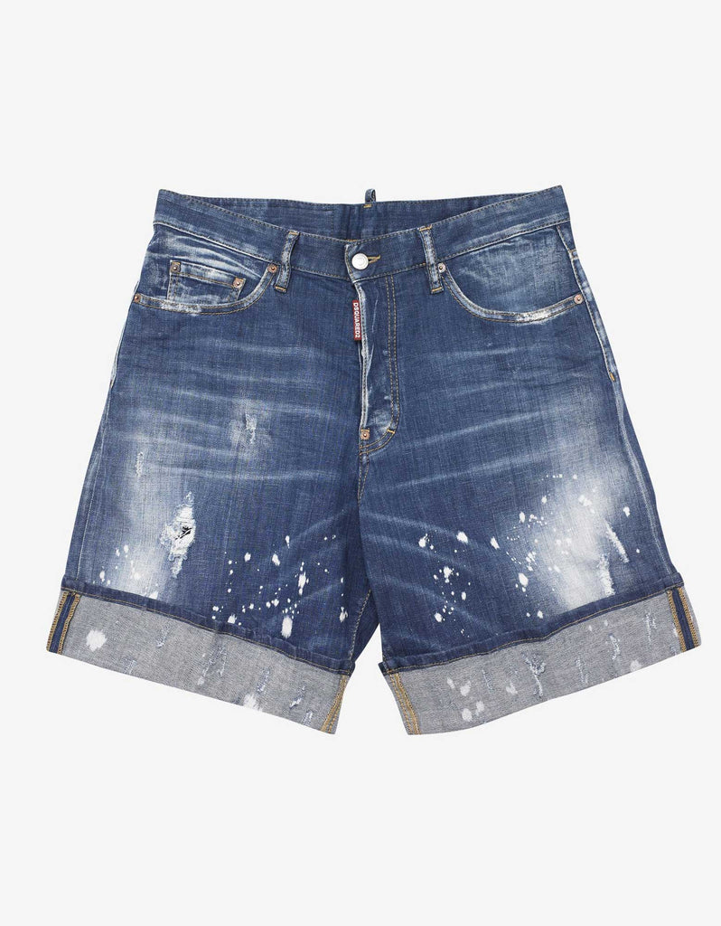 Blue Paint Splatter Distressed Denim Shorts