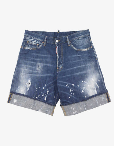 Dsquared2 Blue Paint Splatter Distressed Denim Shorts
